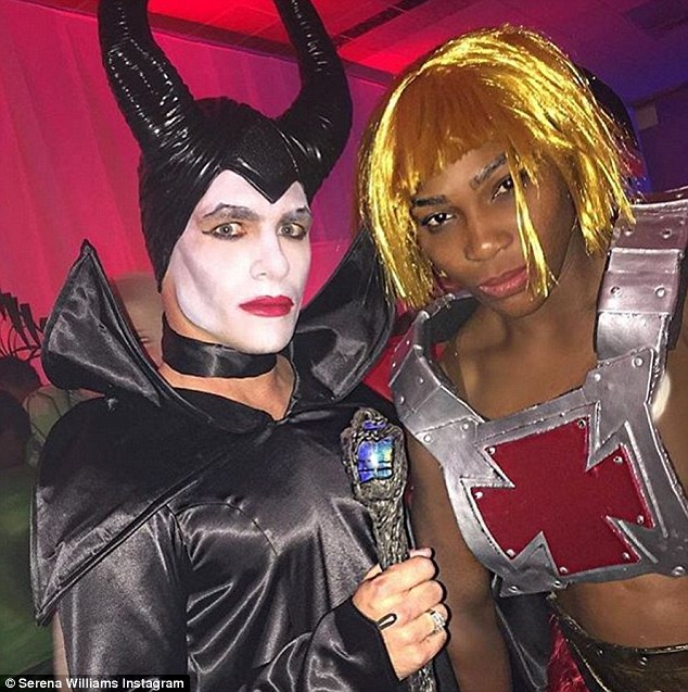 Serena Williams dons He-Man costume for an 80s party with Teen Wolf star Colton Haynes, left. Read more: http://www.dailymail.co.uk/tvshowbiz/article-3546680/She-power-Serena-Williams-shows-strength-dons-Man-costume-80s-party.html#ixzz46HVTQK3c Follow us: @MailOnline on Twitter | DailyMail on Facebook