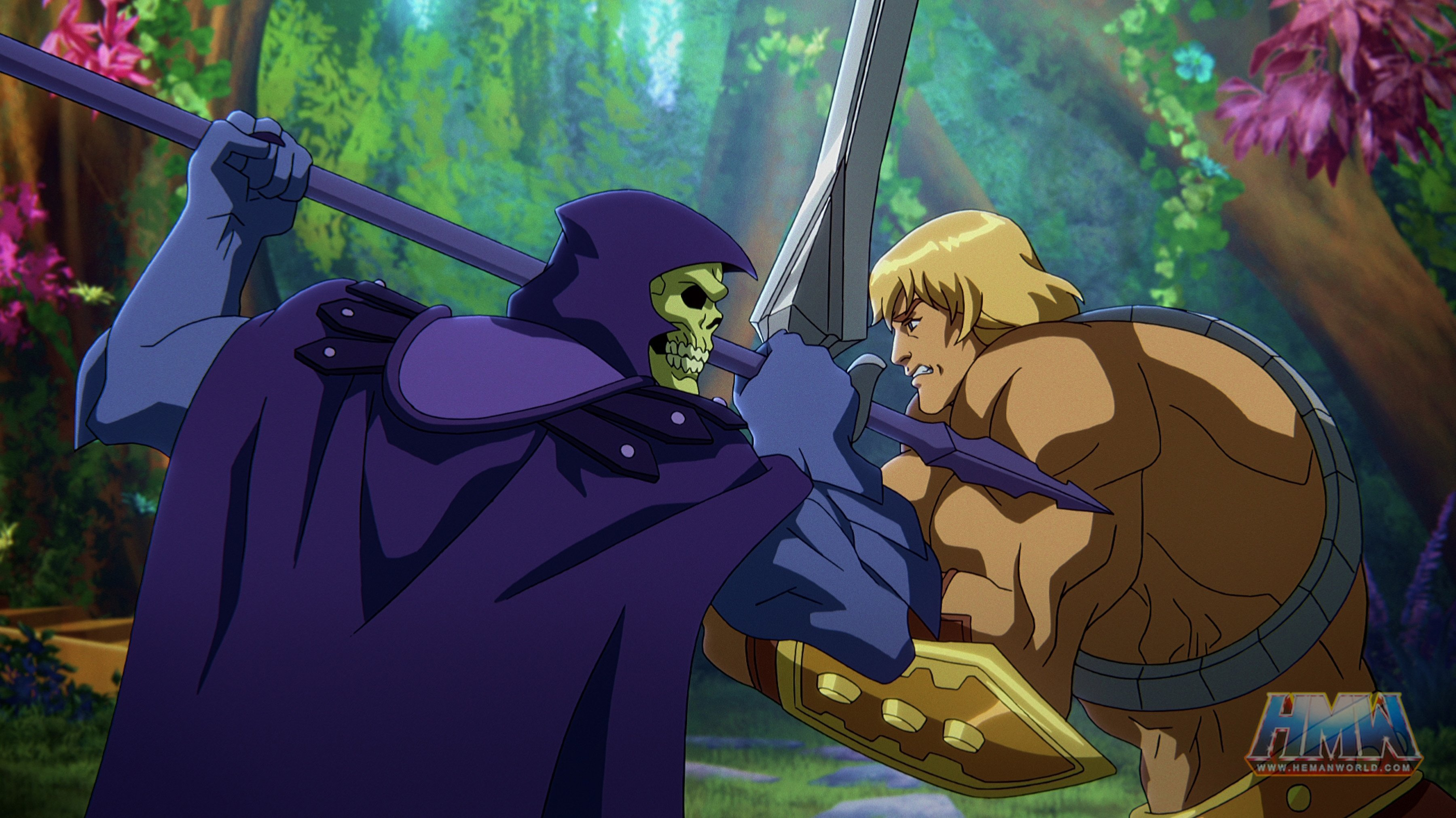 In a CG animated still from Masters of the Universe: Revelation, Skeletor (left), who wears a purple cloak and hood over his skull, grips his spear in a battle against He-Man (right), a strong shirtless blonde male with a golden armored belt and wrist plates holding a silver sword. The two are standing face to face in a forest with bright foliage.